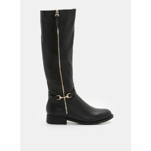 Black boots with gold colored buckle